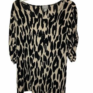 TRAVELERS BY CHICOS ANIMAL PRINT BLOUSE SIZE LARGE